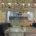 textile production. knitting machine at a textile factory