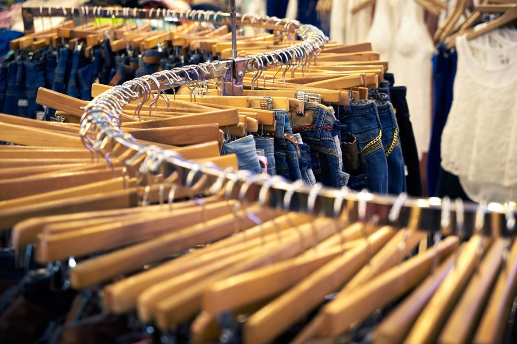 Clothing and retail store-view of shop with jeans.tif
