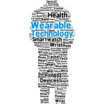 Wearable technology word cloud in the shape of a man